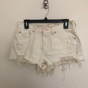 Free People Distressed Off White Shorts